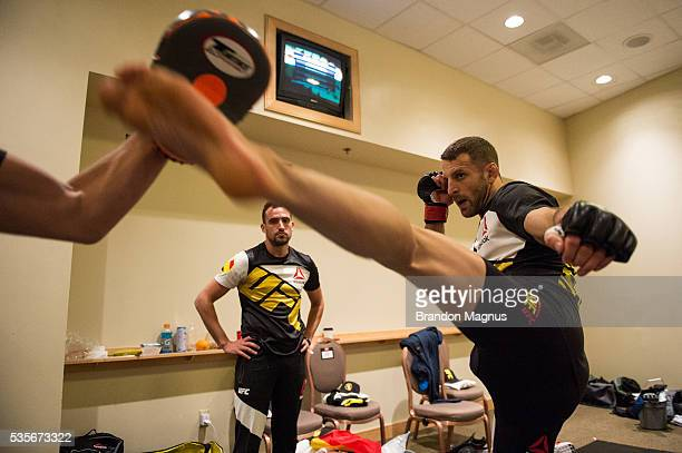 Tarec Saffiedine warms up backstage during the UFC Fight Night Event inside the Mandalay Bay Events Center on May 29, 2016 in Las Vegas Nevada.