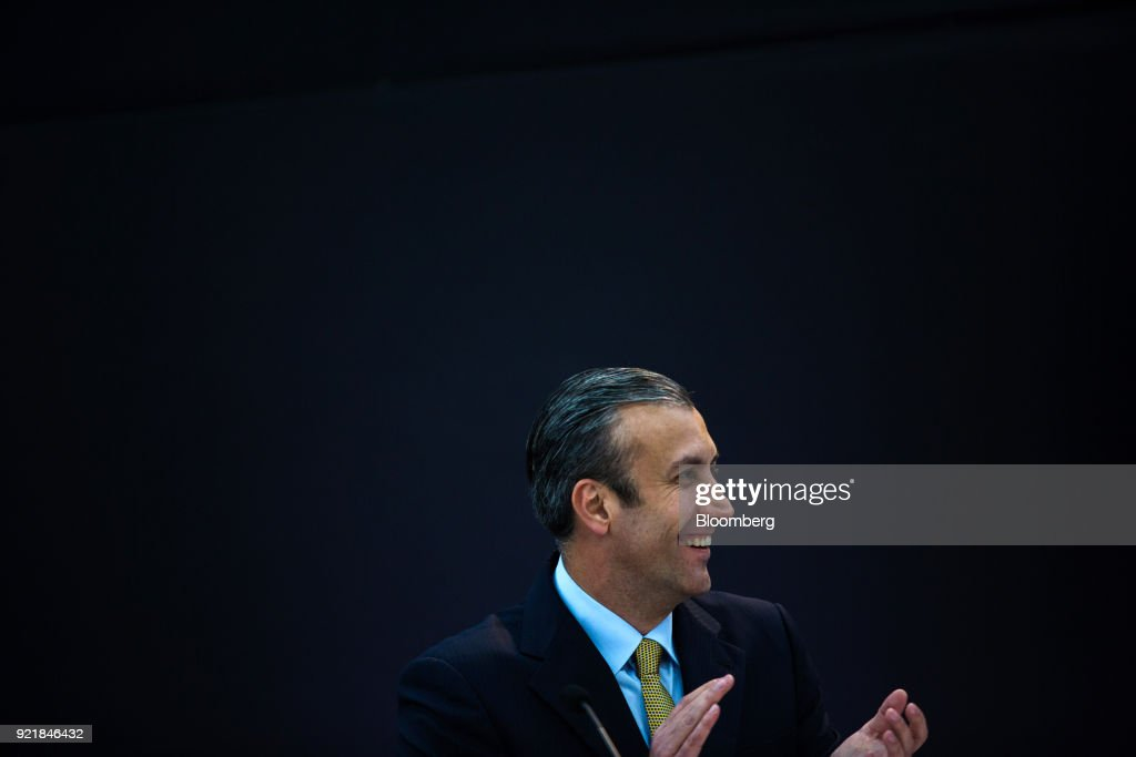 Tareck El Aissami, Venezuela's vice president, applauds during the Petro cryptocurrency launch event in Caracas, Venezuela, on Tuesday, Feb. 20, 2018. Maduro launched Petro to use as a new alternative payment system amid hyperinflation and the eroding bolivar. Photographer: Wil Riera/Bloomberg via Getty Images