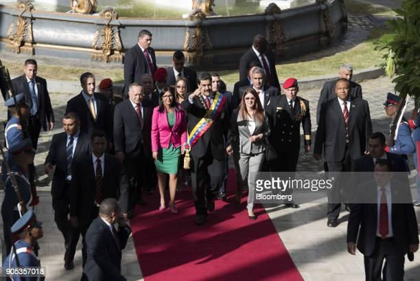 Tareck El Aissami Venezuela's vice president from left Diosdado Cabello vice president of the United Socialist Party Delcy Rodriguez president of the...