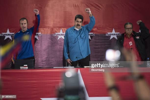 Tareck El Aissami Venezuela's vice president from left Nicolas Maduro Venezuela's president and Jose Tomas Pinto general secretary of the Tupamaro...