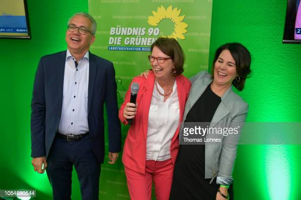 Tarek AlWazir and Priska Hinz the two colead candidates of the German Greens Party and Annalena Baerbock federal chairman speak to supporters after...