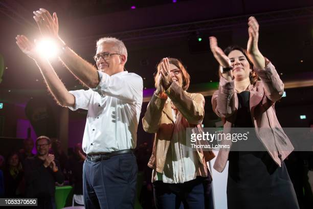 Tarek AlWazir Priska Hinz the two cocandidates for the German Greens Party in Hesse state elections and and Annalena Baerbock coleader of the German...