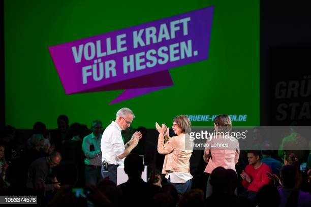 Tarek AlWazir Priska Hinz the two cocandidates for the German Greens Party in Hesse state elections and Annalena Baerbock coleader of the German...