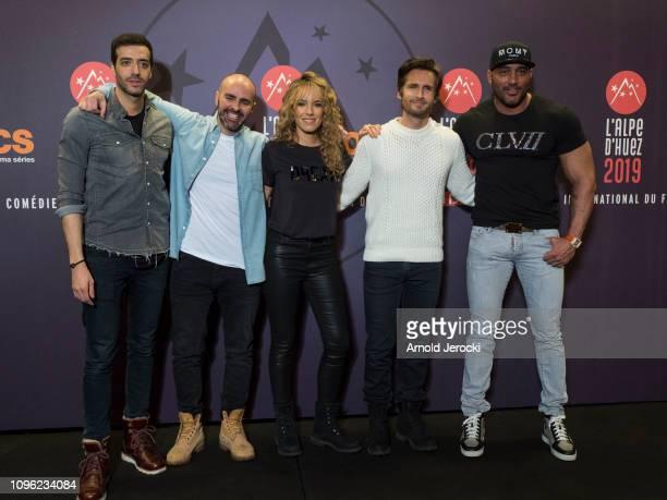 Tarek Boudali Julien Arruti Elodie Fontan Philippe Lacheau attends 'Nicky Larson et le parfum de Cupidon' premiere during the 22nd L'Alpe D'Huez...