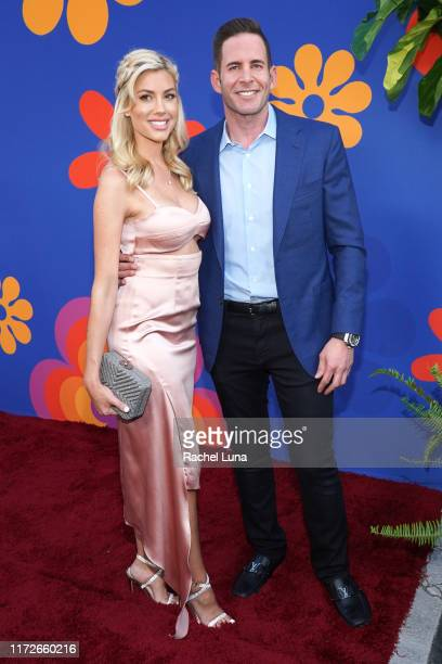 Tarek El Moussa and Heather Rae Young attend the premiere of HGTV's A Very Brady Renovation at The Garland Hotel on September 05 2019 in North...