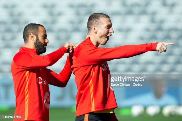 Tarek Elrich and Mitchell Duke of the Wanderers before a Western Sydney Wanderers training session at Bankwest Stadium on July 19 2019 in Sydney...