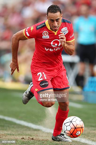Tarek Elrich of Adelaide United runs with the ball during the round 15 ALeague match between Adelaide United and the Central Coast Mariners at...