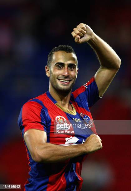 Tarek Elrich of the Jets celebrates victory after the round nine A-League match between the Newcastle Jets and the Melbourne Victory at Ausgrid...