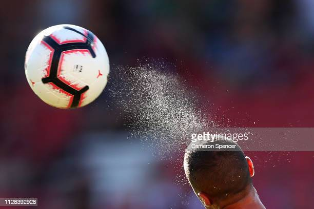 Tarek Elrich of the Wanderers heads the ball during the round 18 ALeague match between the Western Sydney Wanderers and the Central Coast Mariners at...