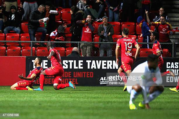 Tarek Elrich of United reacts after scoring during the round 26 ALeague match between Adelaide United and Melbourne City at Coopers Stadium on April...