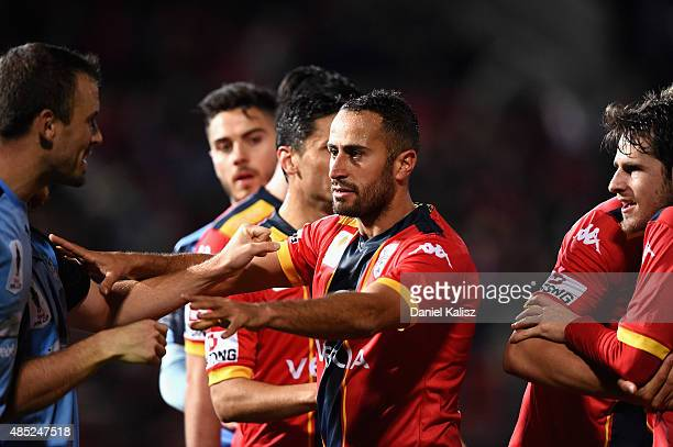 Tarek Elrich of United reacts during the FFA Cup Round of 16 match between Adelaide United and Sydney FC at Coopers Stadium on August 26 2015 in...