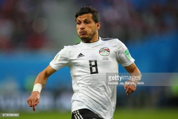 Tarek Hamed of Egypt during the 2018 FIFA World Cup Russia group A match between Russia and Egypt at Saint Petersburg Stadium on June 19 2018 in...