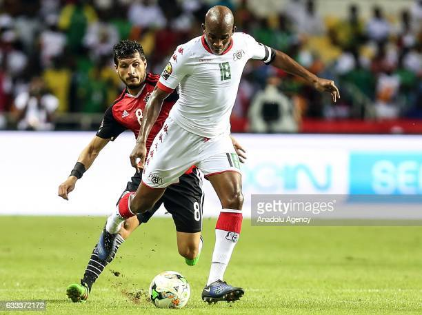 Tarek Hamed of Egypt in action against Charles Kabore of Burkina Faso during the 2017 Africa Cup of Nations semifinal football match between Burkina...