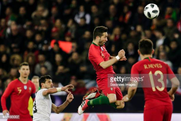 Tarek Hamed of Egypt Joao Moutinho of Portugal during the International Friendly match between Egypt v Portugal at the Letzigrund Stadium on March 23...