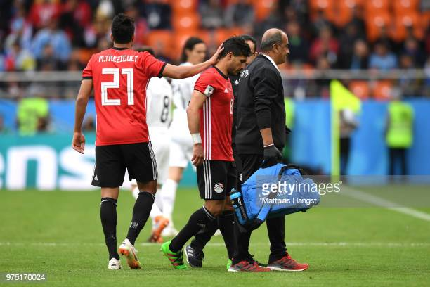 Tarek Hamed of Egypt leaves the pitch injured during the 2018 FIFA World Cup Russia group A match between Egypt and Uruguay at Ekaterinburg Arena on...