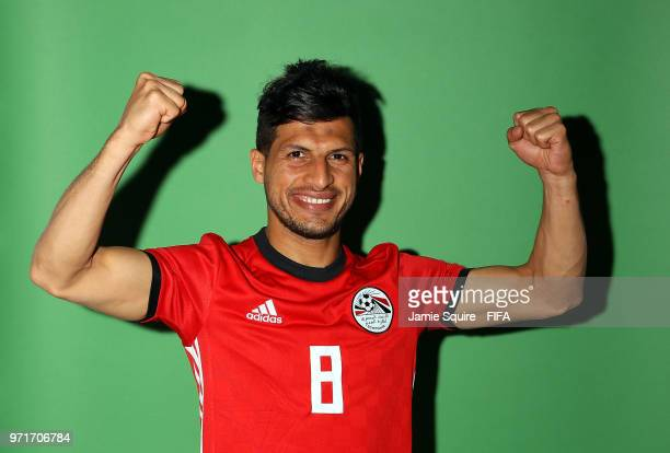 Tarek Hamed of Egypt poses during the official FIFA World Cup 2018 portrait session at The Local hotel on June 11 2018 in Grozny Russia