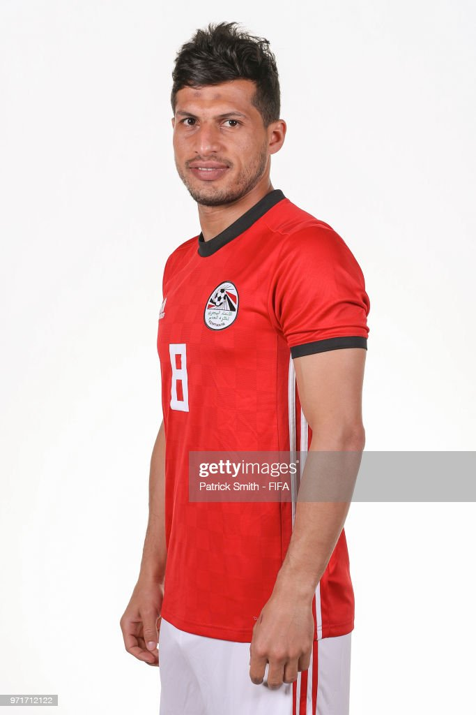 Tarek Hamed #8 of Egypt poses for a portrait during the official FIFA World Cup 2018 portrait session at The Local Hotel on June 11, 2018 in Gronzy, Russia.