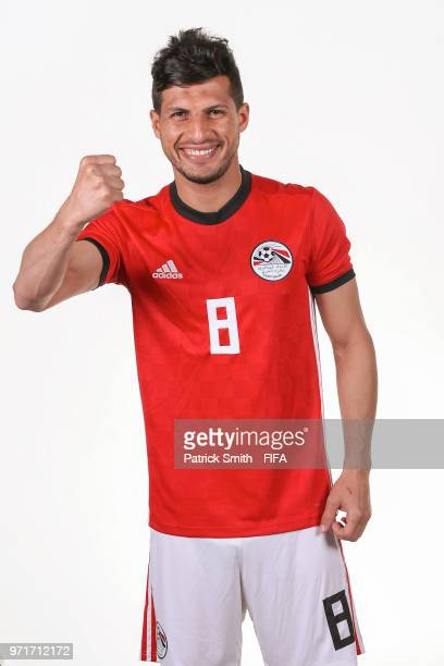 Tarek Hamed of Egypt poses for a portrait during the official FIFA World Cup 2018 portrait session at The Local Hotel on June 11 2018 in Gronzy Russia