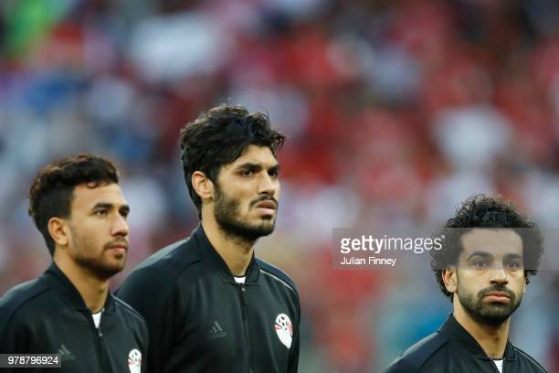 Tarek HTarek Hamed of Egypt Ali Gabr abd Mohamed Salah of Egypt during the 2018 FIFA World Cup Russia group A match between Russia and Egypt at Saint...