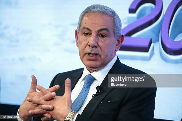 Tarek Kabil Egypt's trade and industry minister gestures as he speaks during a panel session at the World Economic Forum in Davos Switzerland on...