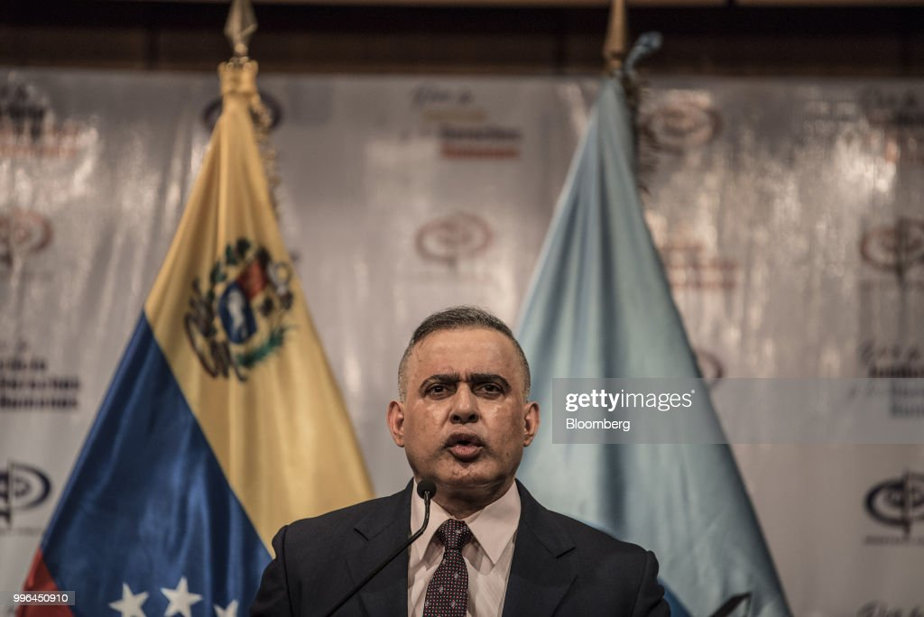 Tarek William Saab, Venezuela's chief prosecutor, speaks during a news conference in Caracas, Venezuela, on Wednesday, July 11, 2018. Saab announced that shipments made through MRW parcel company, allegedly containing illegal substances, had been seized. The government has raided several MRW offices in relation to the investigation. Photographer: Carlos Becerra/Bloomberg via Getty Images