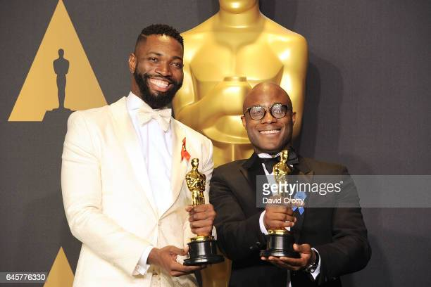 Tarell Alvin McCraney and Barry Jenkins attend the 89th Annual Academy Awards Press Room at Hollywood Highland Center on February 26 2017 in...