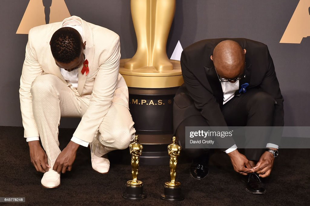 Tarell Alvin McCraney and Barry Jenkins attend the 89th Annual Academy Awards - Press Room at Hollywood & Highland Center on February 26, 2017 in Hollywood, California.
