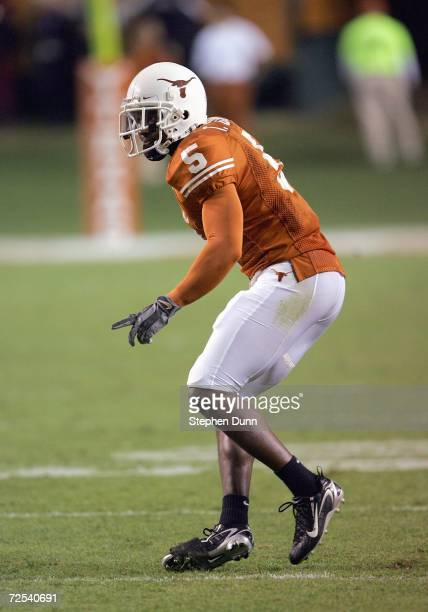Tarell Brown of the Texas Longhorns moves on the field during the game against the Oklahoma State Cowboys on November 4 2006 at Texas Memorial...