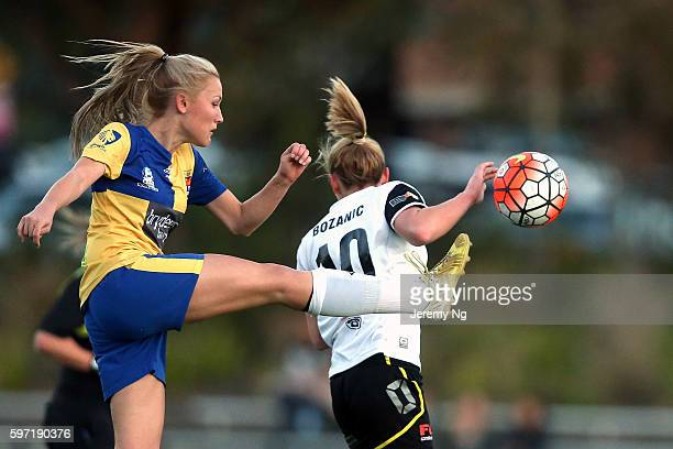 Taren King of Sydney University clears the ball during the 2016 NPL Womens 1 Grand Final match between the North West Sydney Koalas and Sydney...