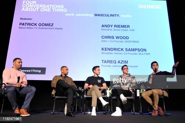 Tareq Azim Kendrick Sampson Chris Wood Andy Reimer and Patrick Gomez speak onstage during SoulPancake's Four Conversations about One Thing at Hammer...