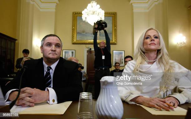 Tareq Salahi and Michaele Salahi prepare to testify before the House Homeland Security Committee during a hearing on The United States Secret Service...