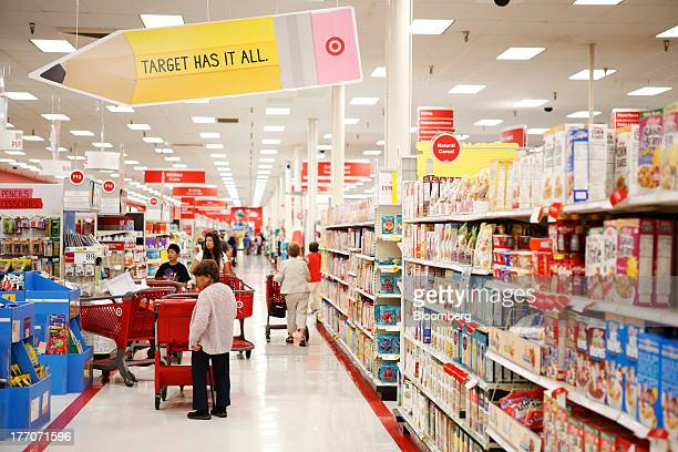 Target advertises back to school supplies as 'Target Has It All' as customers shop inside the Target Corp Store in Torrance California US on Tuesday...