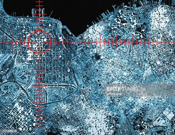 target and aerial view of urban area (digital composite) - surveillance stock pictures, royalty-free photos & images