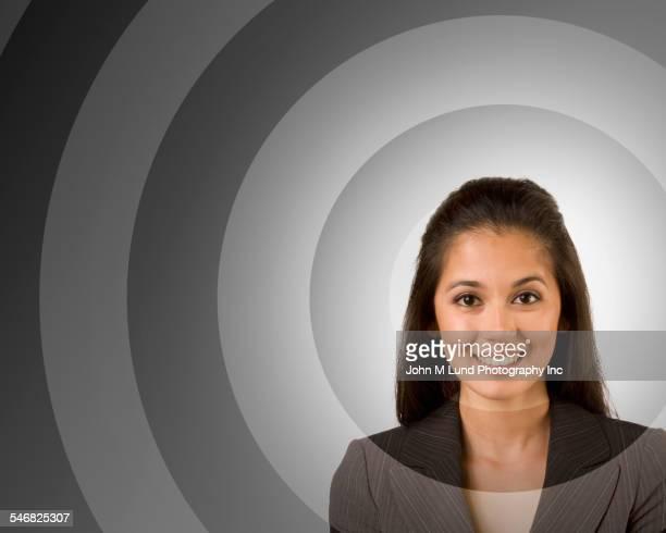 target around face of mixed race businesswoman - person gemischter abstammung stock-fotos und bilder