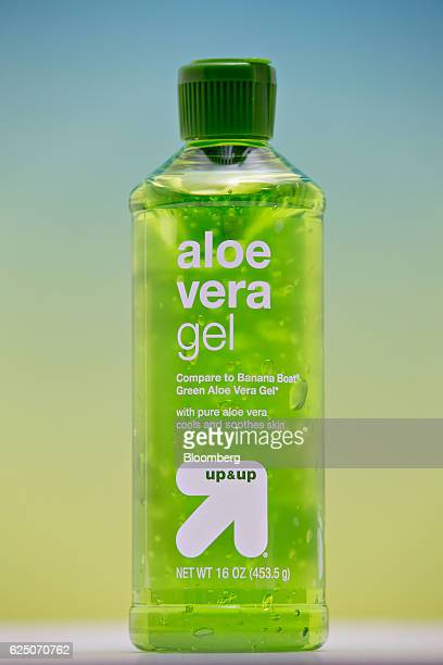 Target Corp brand Aloe Vera Gel is arranged for a photograph in Tiskilwa Illinois US on Friday Nov 18 2016 Samples of storebrand aloe gel purchased...