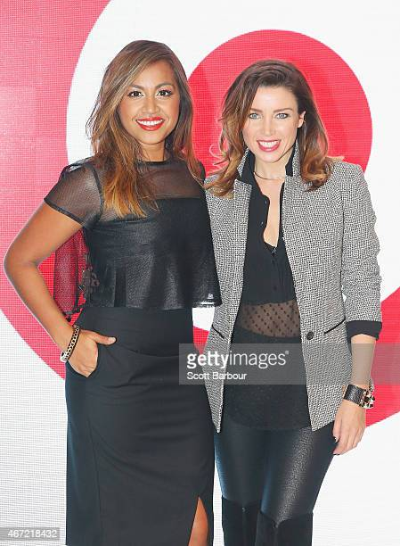 Target designer Dannii Minogue and Australian singer Jessica Mauboy pose on the runway at the Target show during Melbourne Fashion Festival on March...