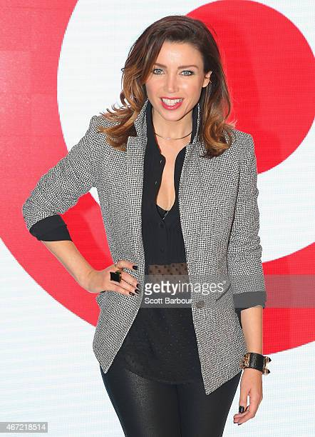 Target designer Dannii Minogue poses during at the Target show during Melbourne Fashion Festival on March 22 2015 in Melbourne Australia