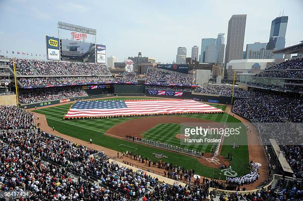 Target Field during the National Anthem during the Minnesota Twins home opener against the Boston Red Sox on April 12 2010 in Minneapolis Minnesota