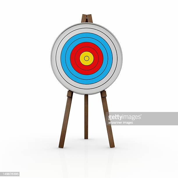 A target on a stand, with a white background