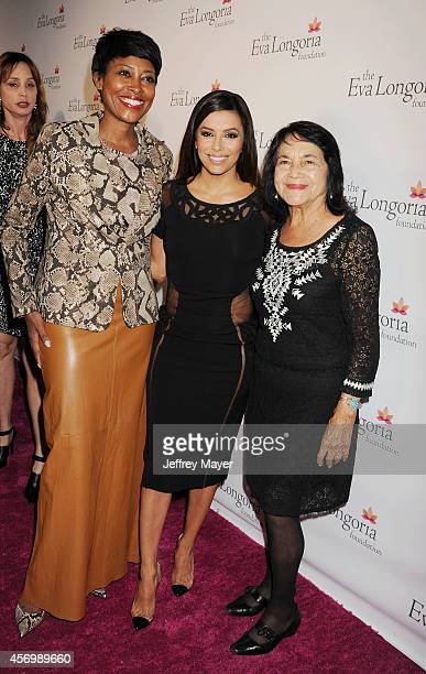 Target Pres of Community Relations Laysha Ward actress Eva Longoria and Civil Rights Leader Dolores Huerta attend Eva Longoria's Foundation dinner at...