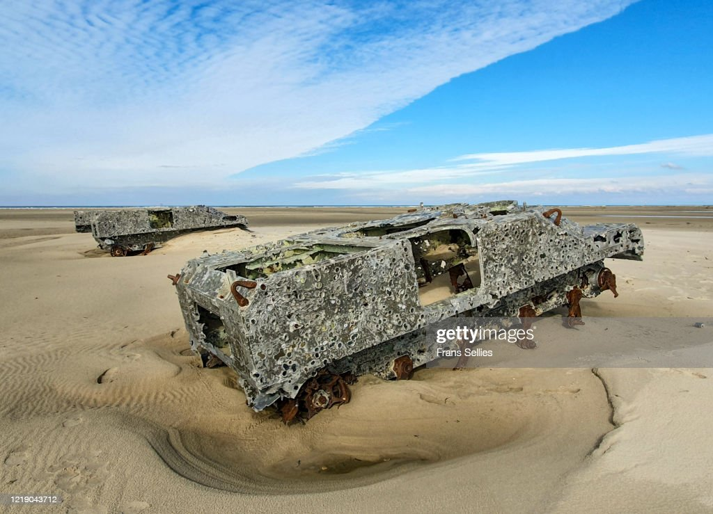 Targets for the air force at the cornfield shooting range, Vlieland, Netherlands : Stock Photo