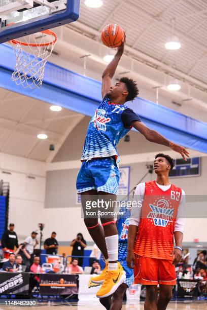 Tari Eason from Federal Way High School goes up for a dunk during the Pangos All-American Camp on June 2, 2019 at Cerritos College in Norwalk, CA.