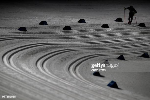 Tariel Zharkymbaev of Kyrgyzstan competes during the CrossCountry Men's Sprint Classic Qualification on day four of the PyeongChang 2018 Winter...