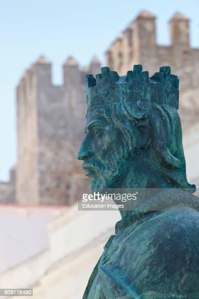 Tarifa Cadiz Province Spain Monument in front of Castillo Guzman El Bueno to King Sancho IV El Bravo commemorating the seven hundredth anniversary of...