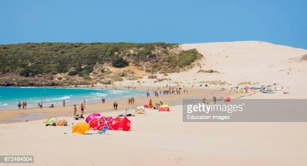 Tarifa Costa de la Luz Cadiz Province Andalusia southern Spain Windsurfing Sand dunes of Punta Paloma in background
