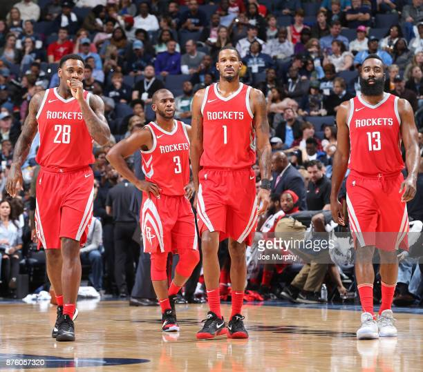 Tarik Black Chris Paul Trevor Ariza and James Harden of the Houston Rockets look on during the game against the Memphis Grizzlies on November 18 2017...