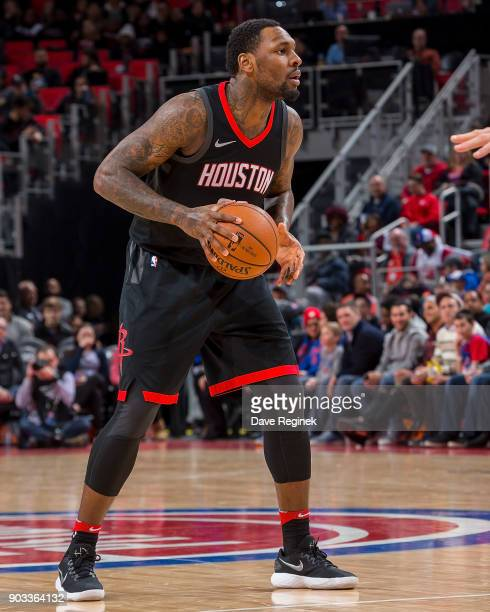 Tarik Black of the Houston Rockets controls the ball against the Detroit Pistons during the an NBA game at Little Caesars Arena on January 6 2018 in...