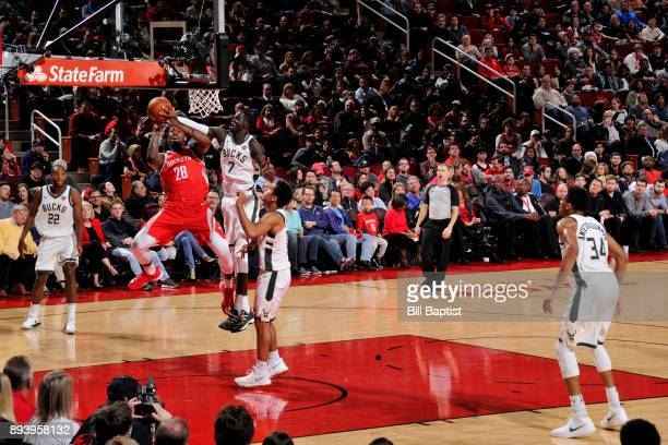 Tarik Black of the Houston Rockets handles the ball against the Milwaukee Bucks on December 16 2017 at the Toyota Center in Houston Texas NOTE TO...