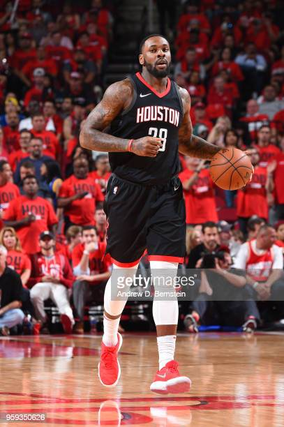 Tarik Black of the Houston Rockets handles the ball against the Golden State Warriors during Game Two of the Western Conference Finals of the 2018...