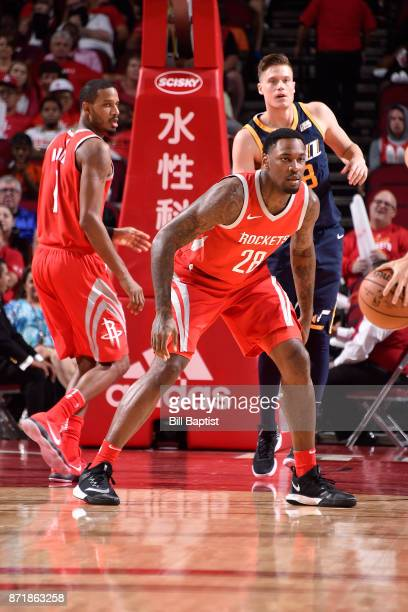 Tarik Black of the Houston Rockets reacts to a play against the Utah Jazz on November 5 2017 at the Toyota Center in Houston Texas NOTE TO USER User...